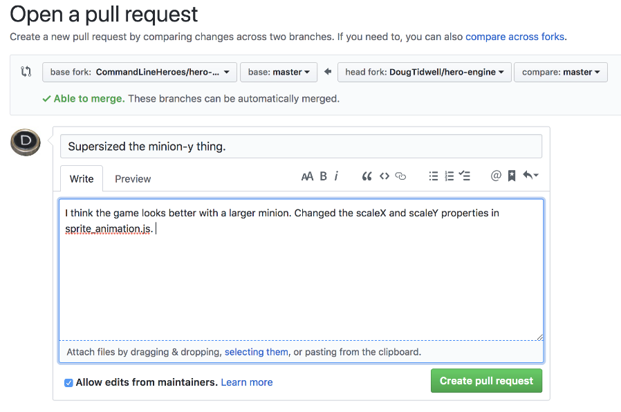 The final text of the pull request