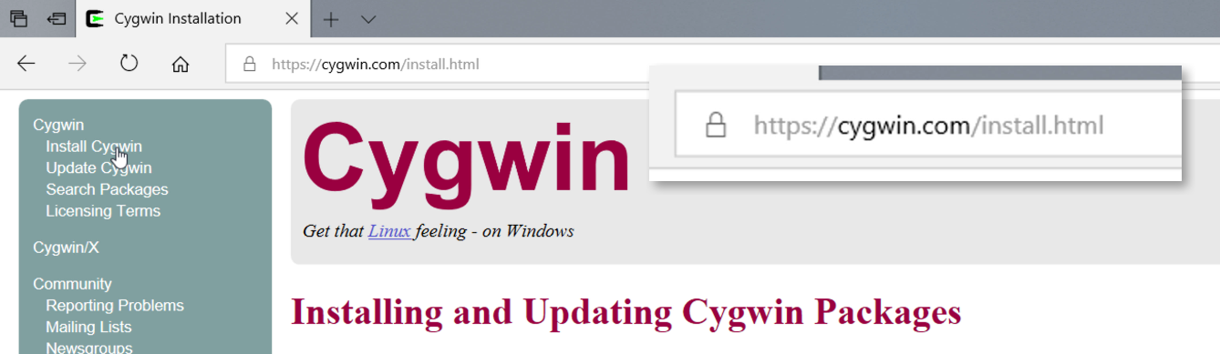 The Cygwin website