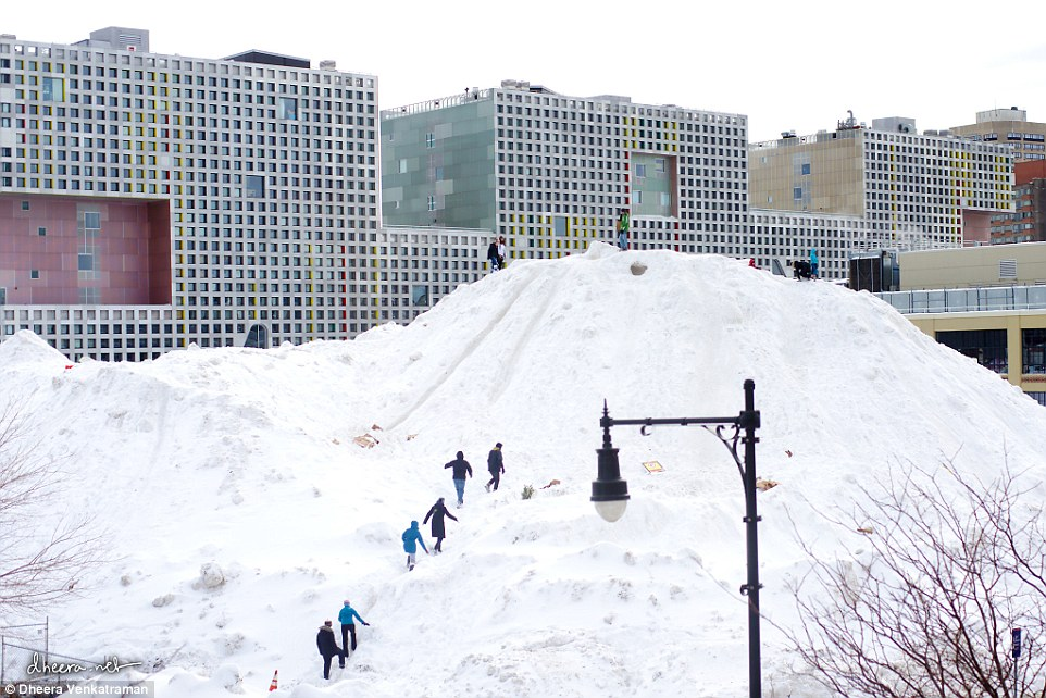 5 story mound of snow at MIT called the Alps of MIT