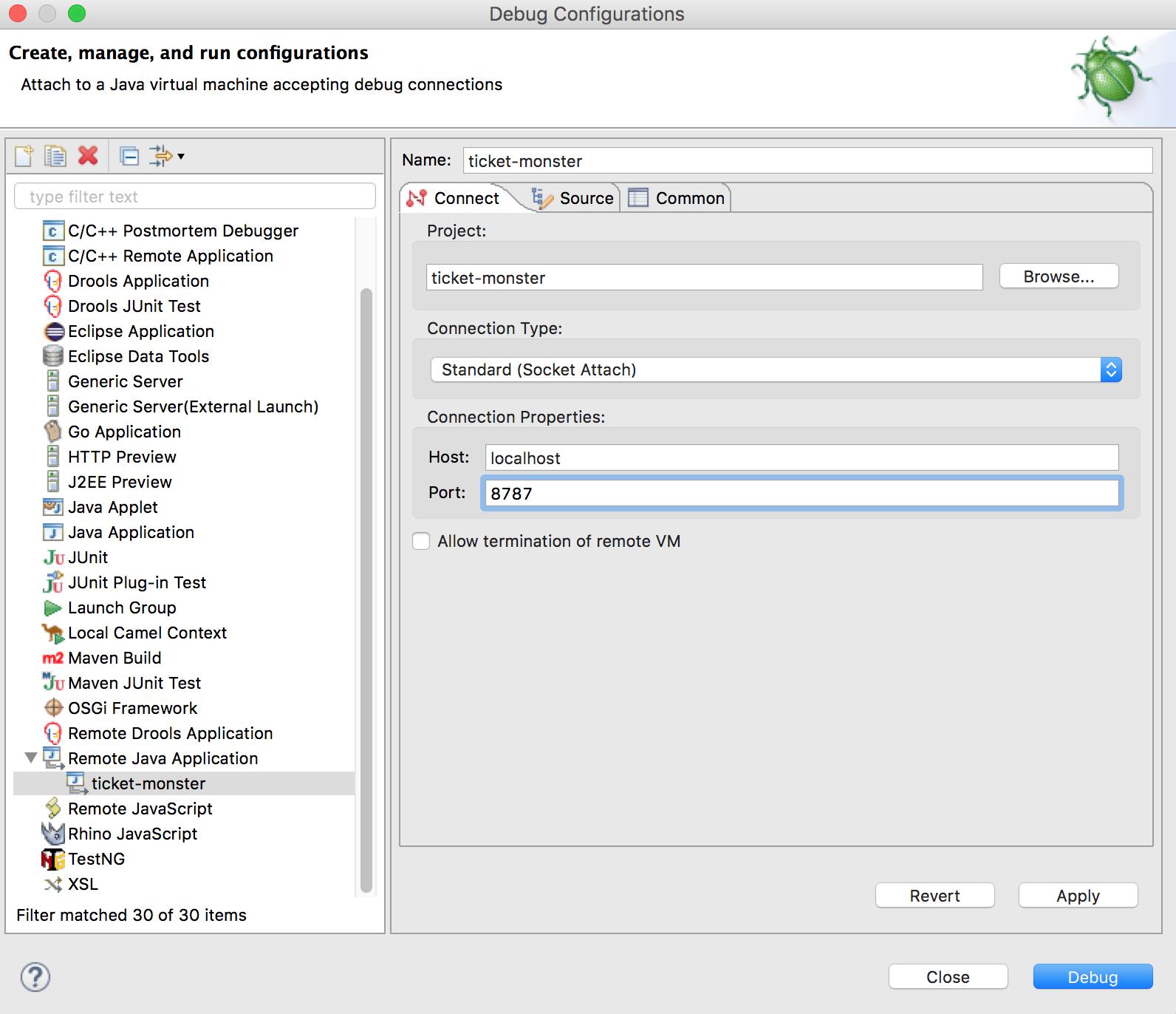 OSE Debug Configuration