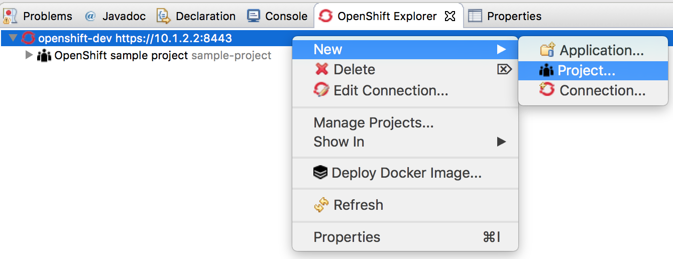 OpenShift Explorer New Project