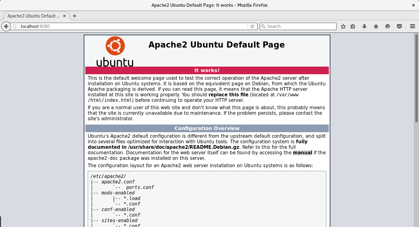 Apache Welcome page after successful provisioning