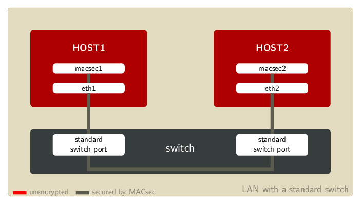 Example LAN setup with a standard switch