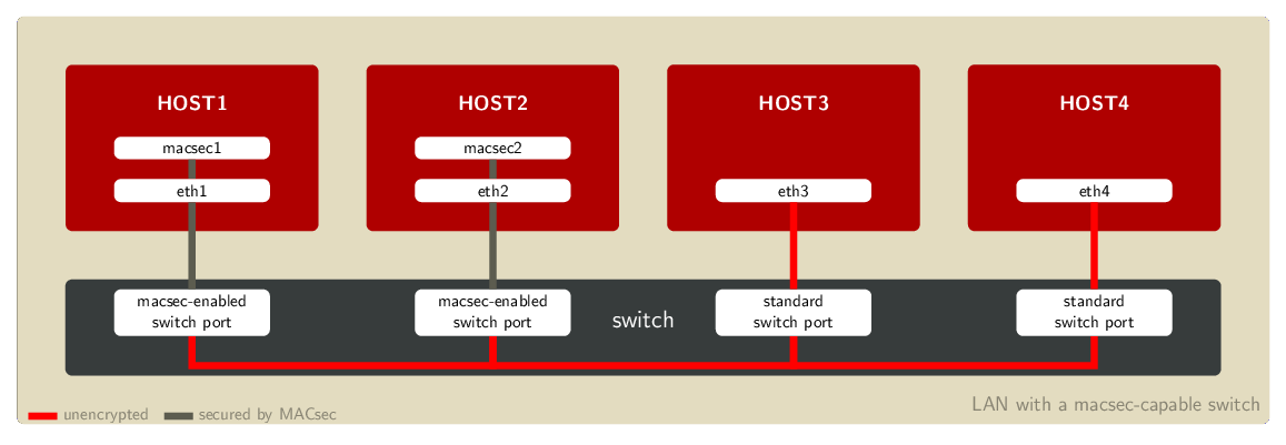 Example LAN setup with a MACsec-capable switch
