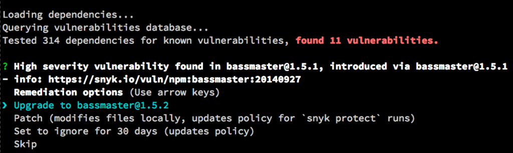 Using Snyk, NSP and Retire JS to Identify and Fix Vulnerable