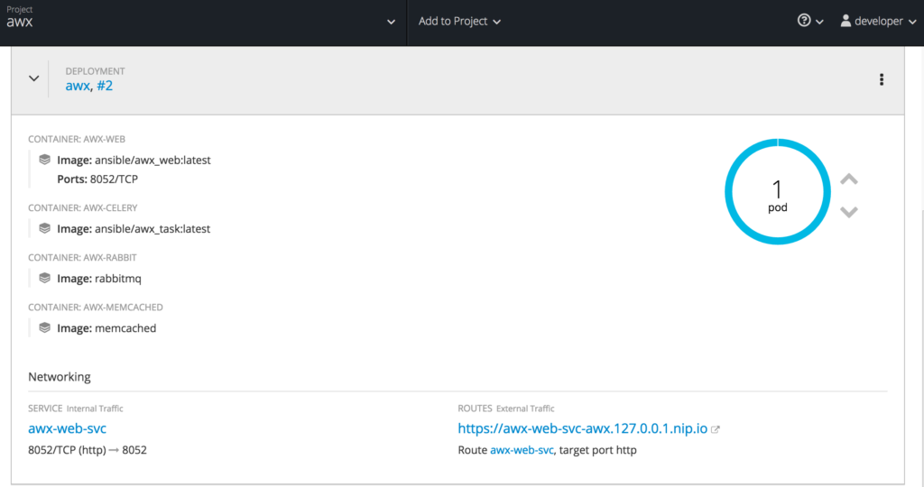 image of OpenShift AWX Deployment Configuration and networking details