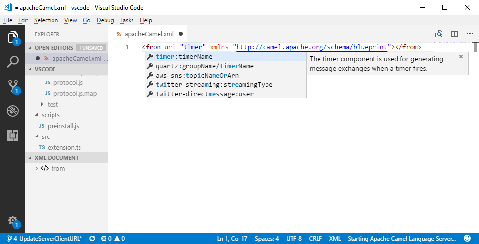 Apache Camel URI completion in VS Code XML Editor and