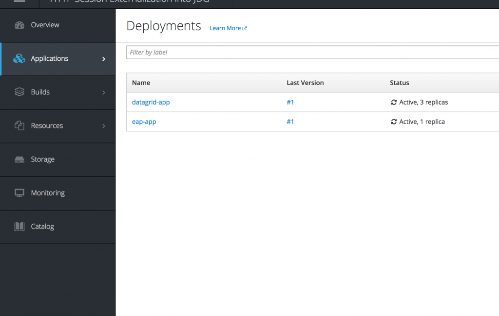 Openshift Deployment config list
