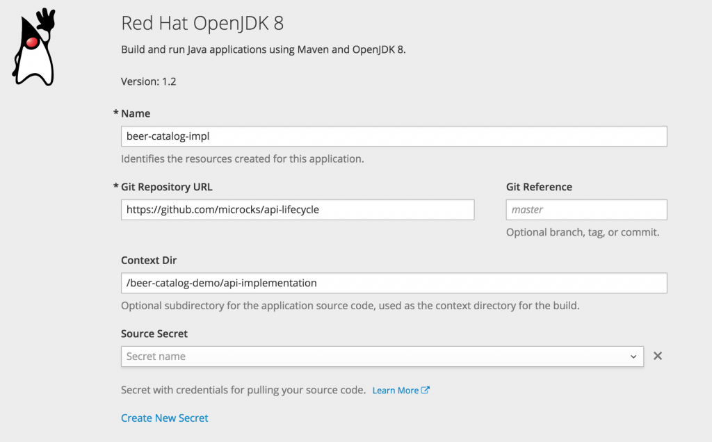 OpenShift new Java app form