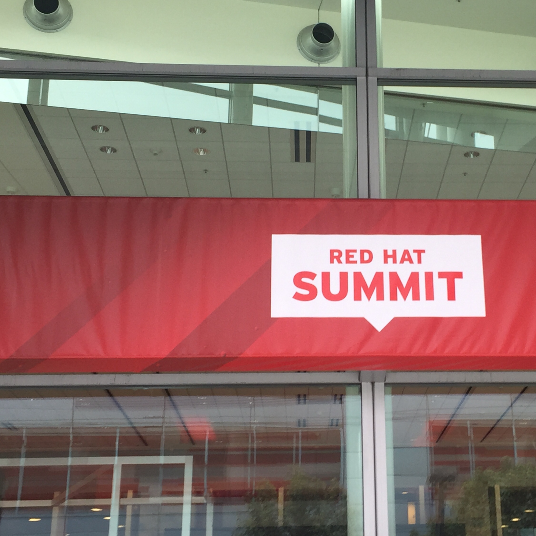 Signage for the Red Hat Summit at Moscone West in San Francisco
