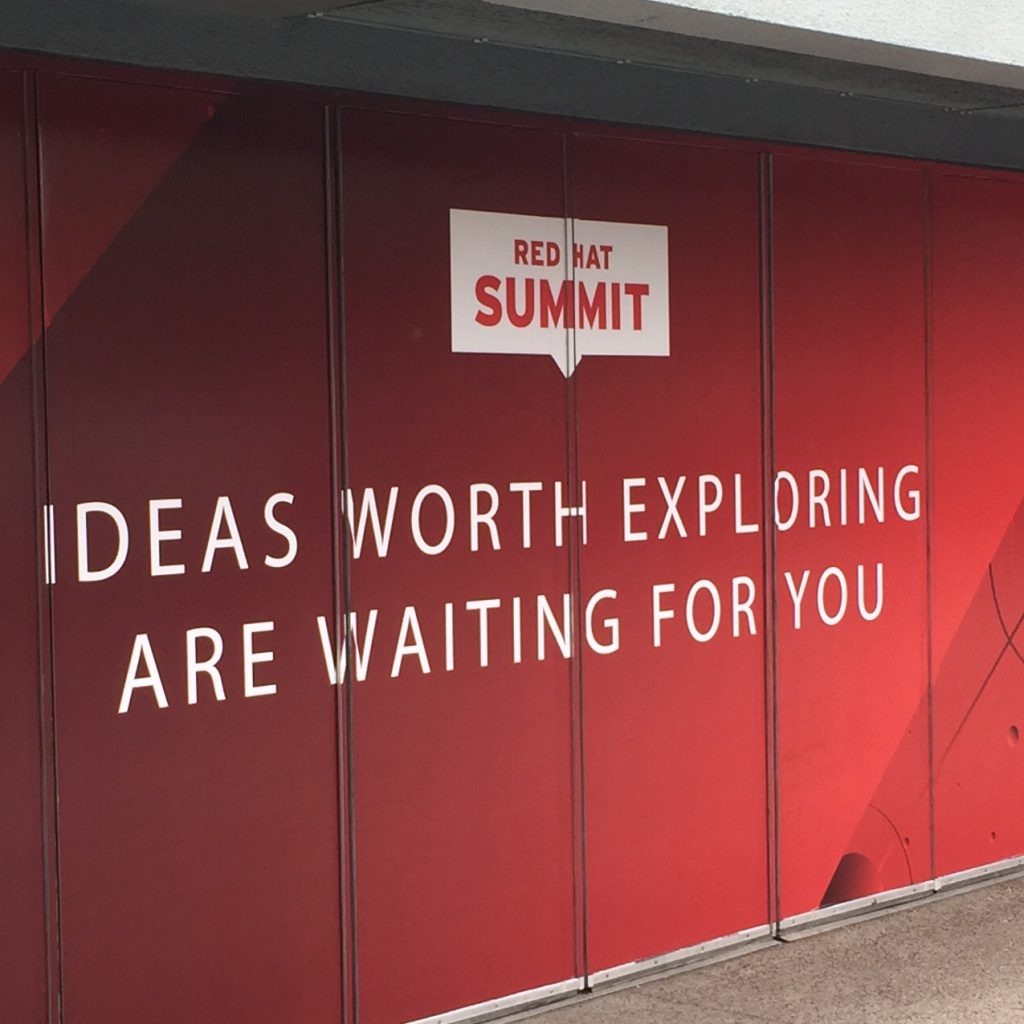A Red Hat Summit sign on the streets of San Francisco
