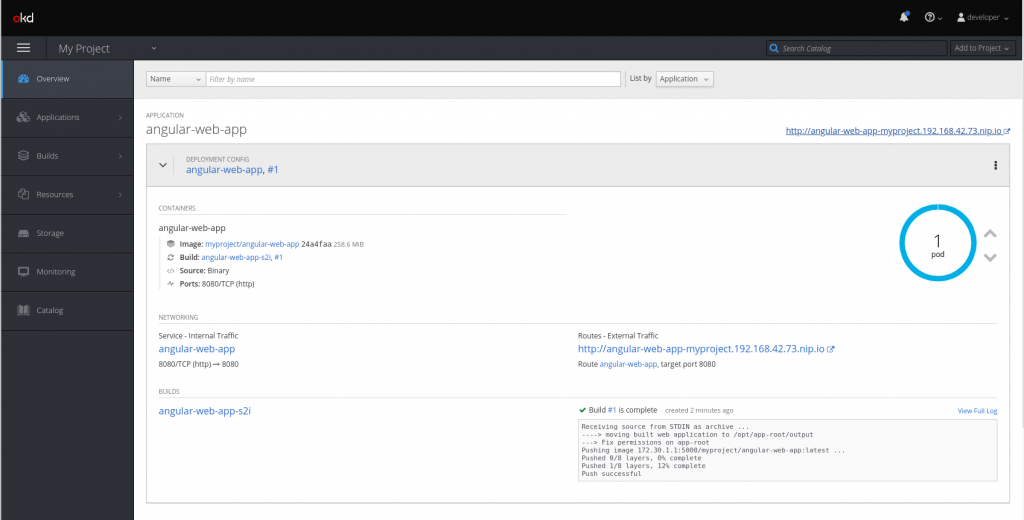 Screenshot of the OpenShift web console after deploying an Angular app
