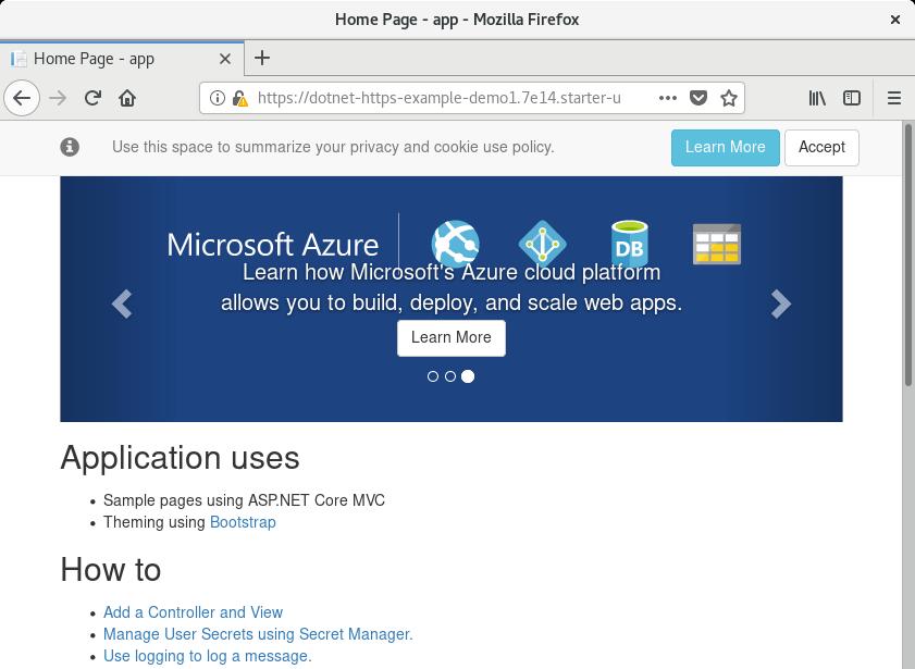 ASP.NET Core application running
