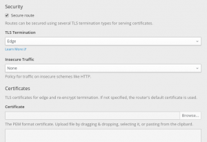 Configuration for terminating HTTPS traffic