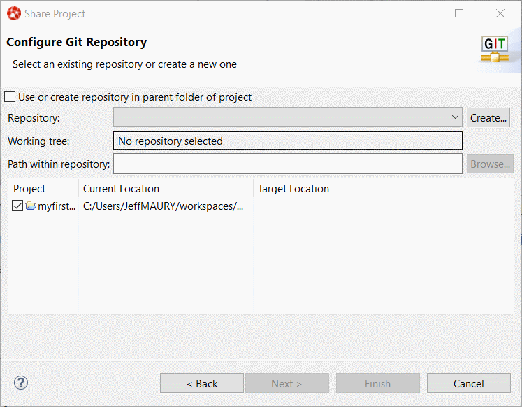 Selecting the Git repository