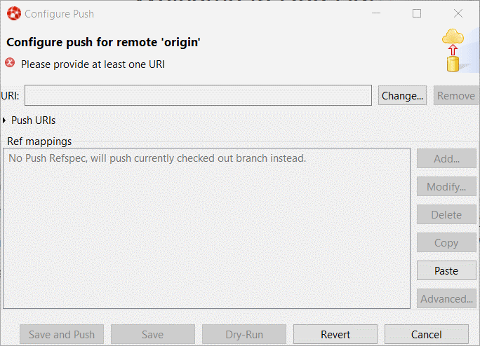 The Configure Push dialog box