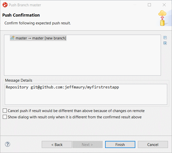 Push Confirmation dialog box