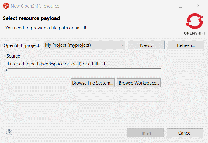 """New OpenShift resource"" dialog box"