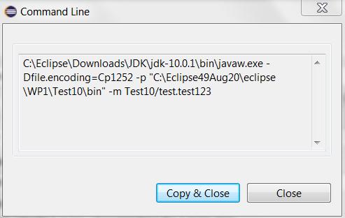 Command line dialog box