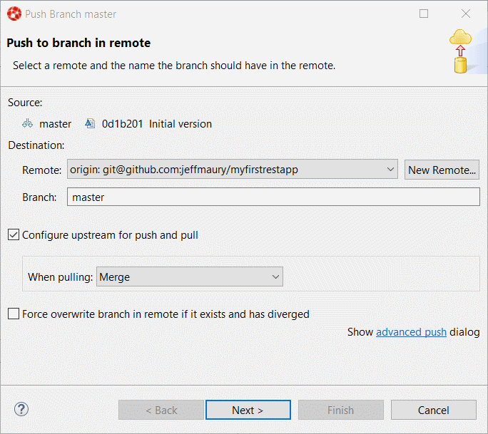 """Push to branch in remote"" dialog box"