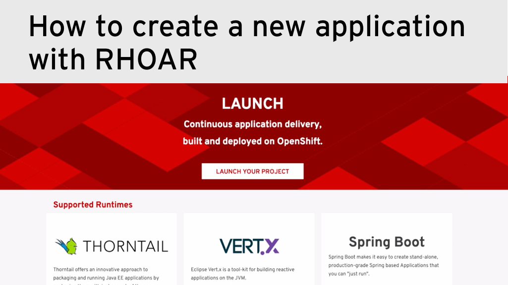 How to create a new application with Red Hat OpenShift Application Runtimes launcher