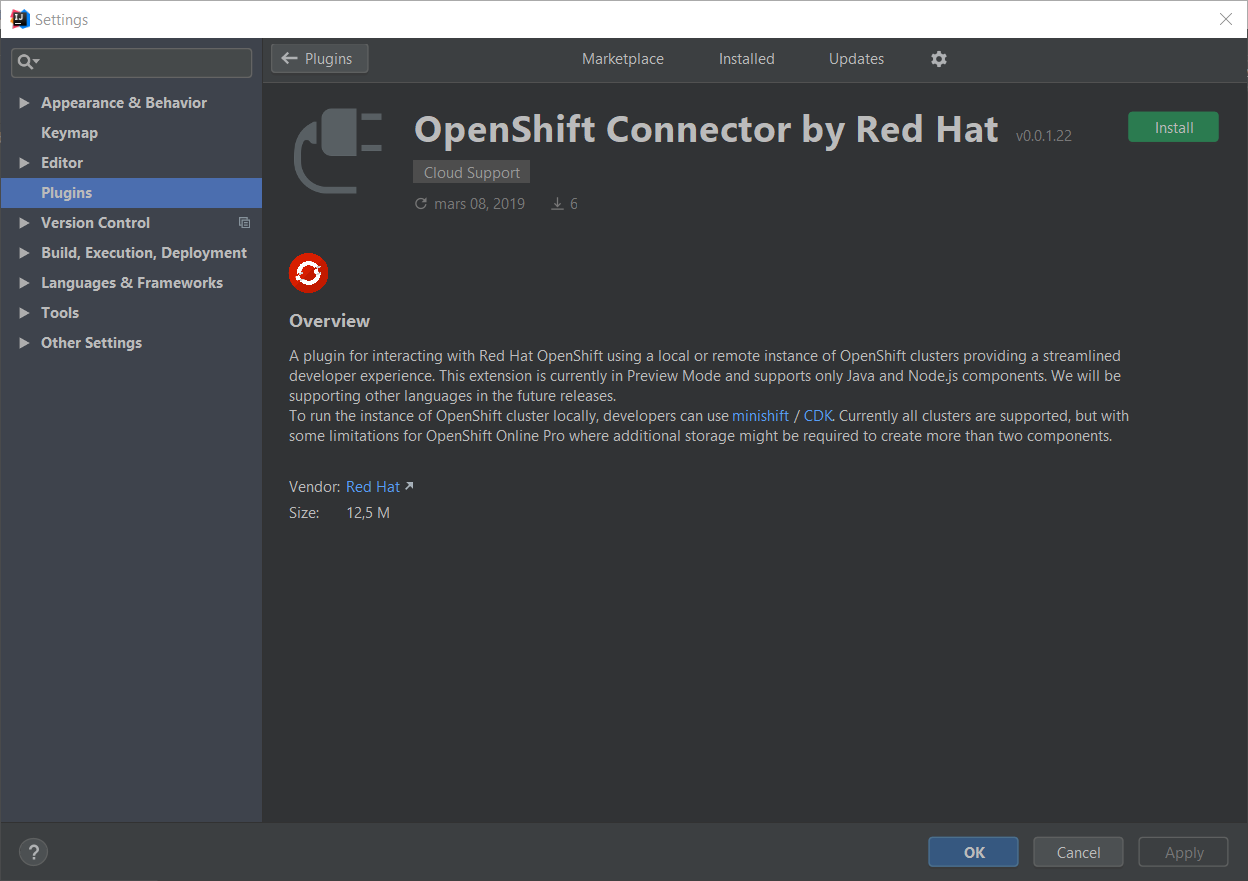 What Red Hat OpenShift Connector for JetBrains products offers