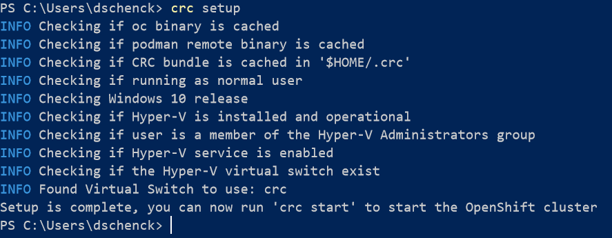 crc setup command results in terminal session