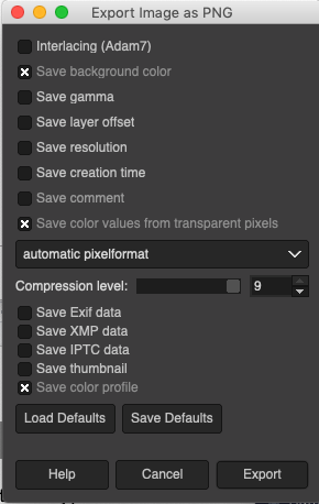GIMP options that work