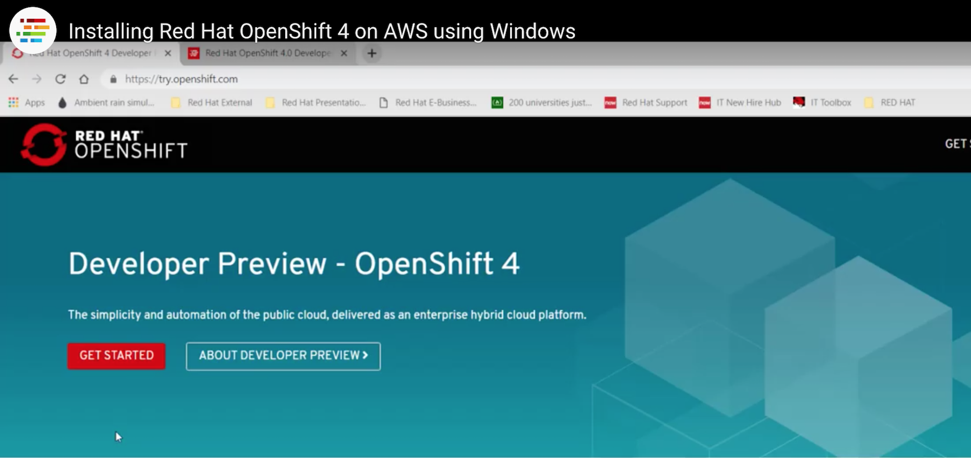 Red Hat OpenShift 4, AWS, Windows, and a video