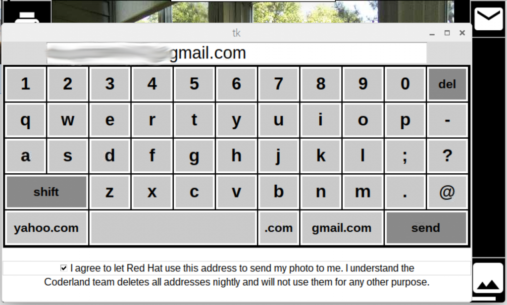Onscreen keyboard with privacy notice