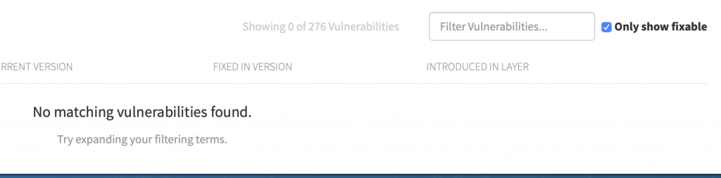 No matching vulnerabilities found