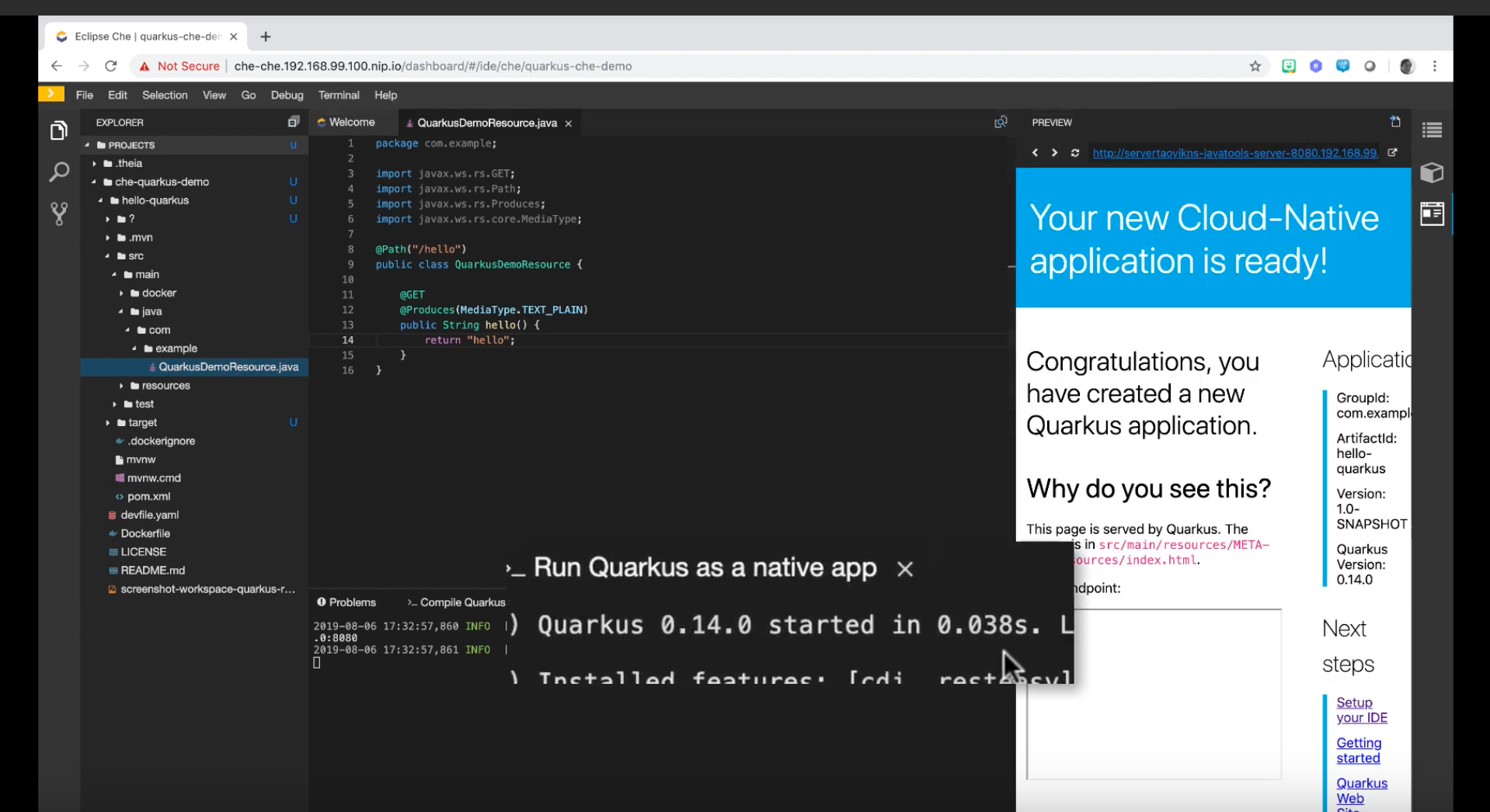 Get started with Eclipse Che 7 and Quarkus: An overview