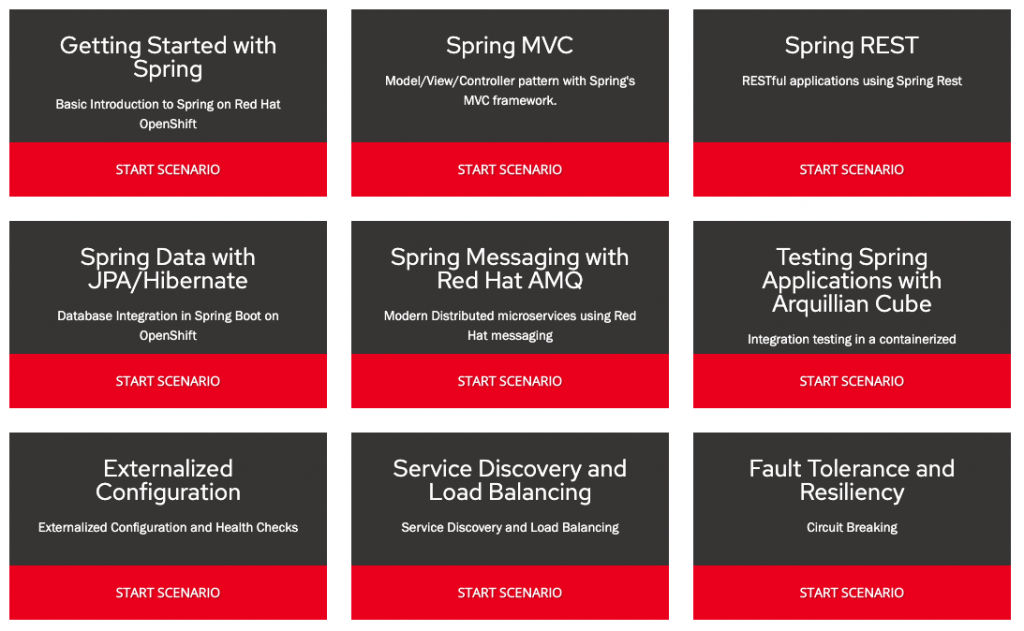 A screenshot showing nine interactive learning modules on the Red Hat Interactive Courses homepage.