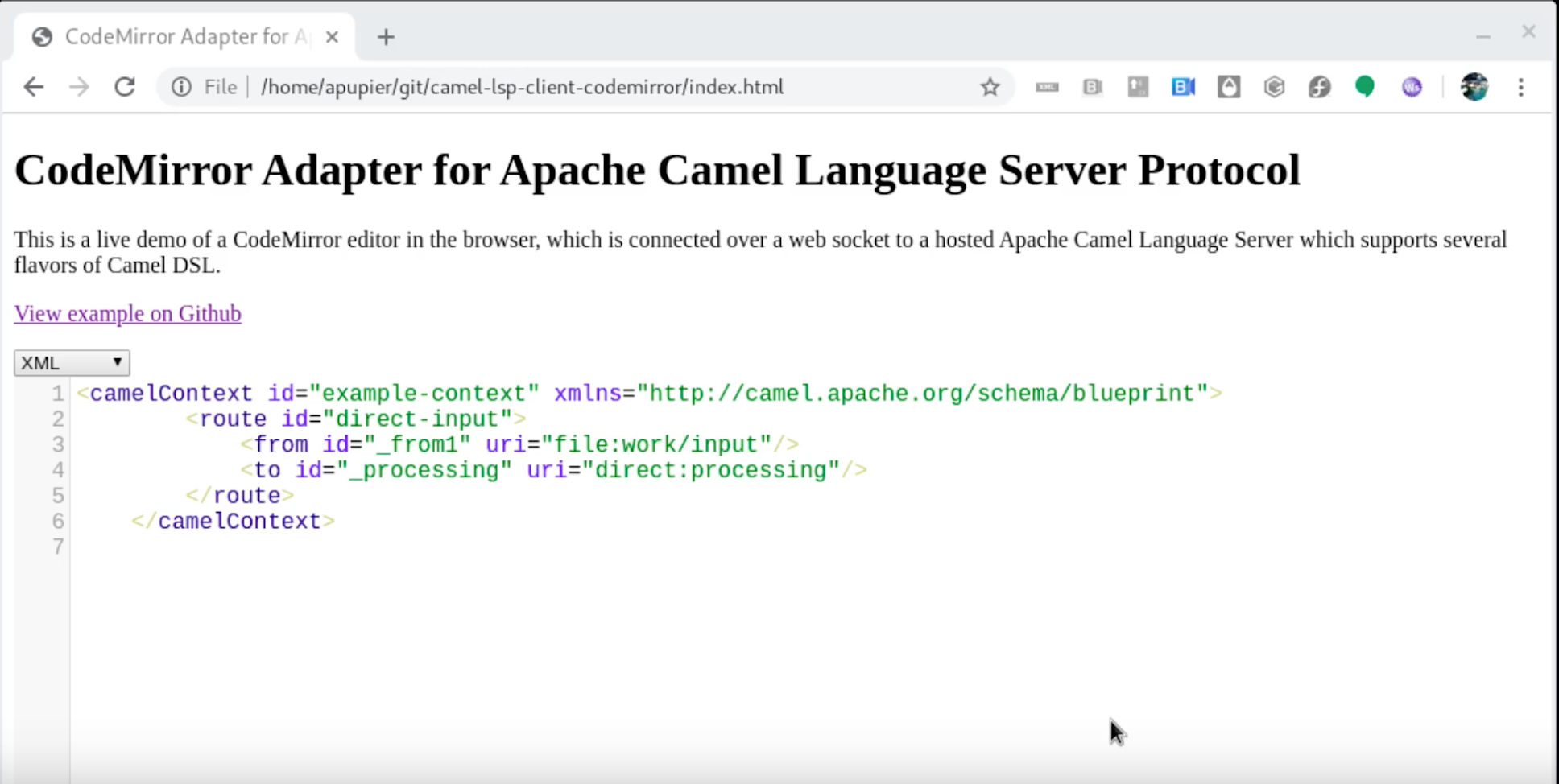 Apache Camel Language support in CodeMirror