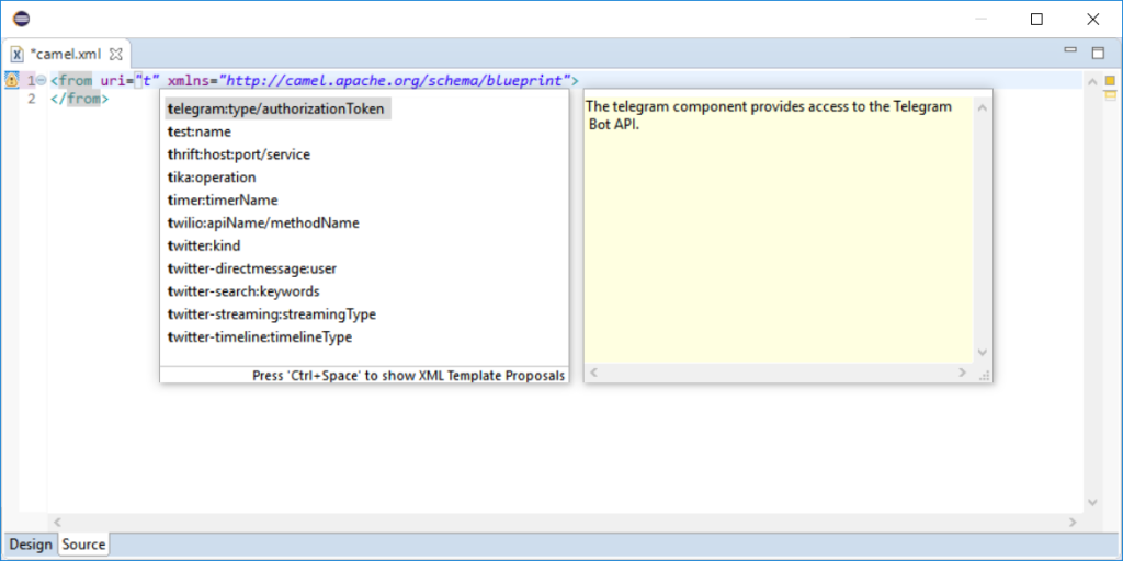 completion Camel XMl in Eclipse Desktop