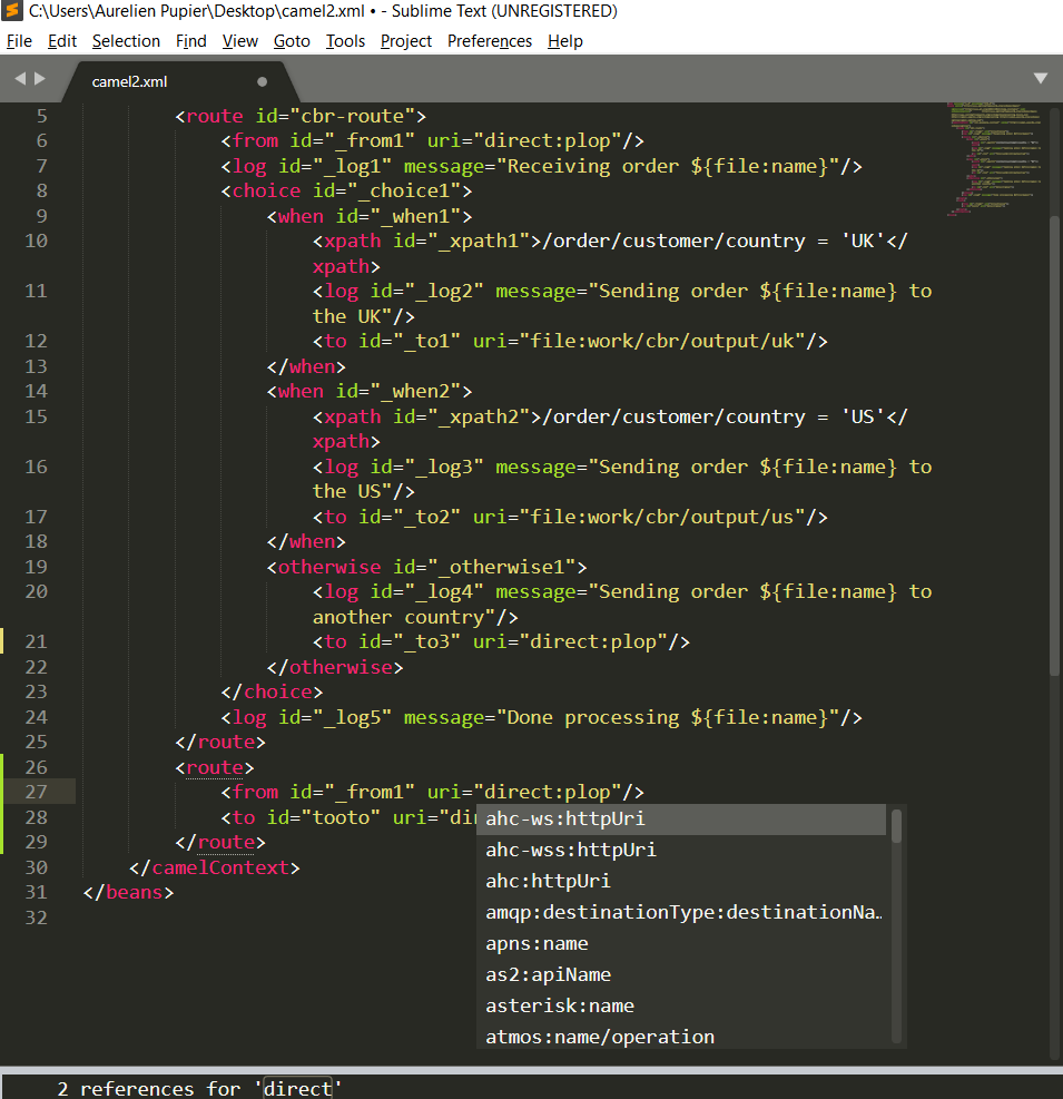Camel XML completion Sublime Text