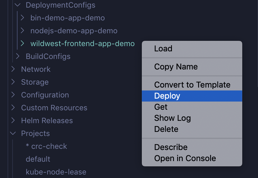 Use actions in the deployment config.