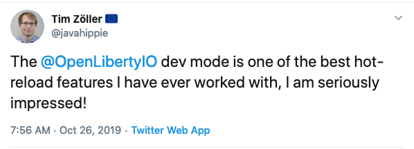 Tweet about Open Liberty Dev Mode.