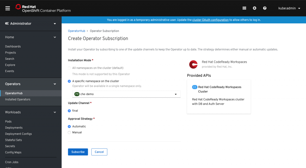 A screenshot of the option to create a subscription for the CodeReady Workspaces Operator.