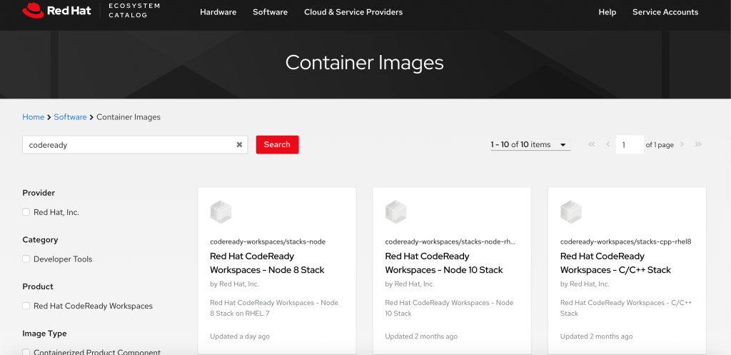 A screenshot of installation images for CodeReady Workshop in the Red Hat Container Registry.