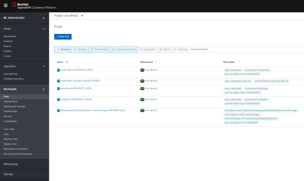 A screenshot of the Running tab open on the Pods page in the OpenShift console.