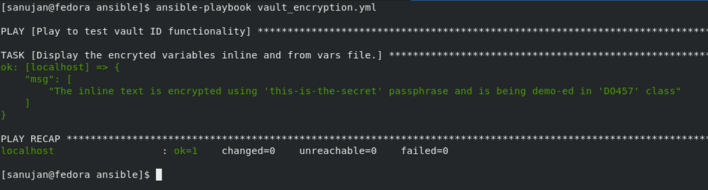 The results of running ansible-playbook vault_encryption.yml.