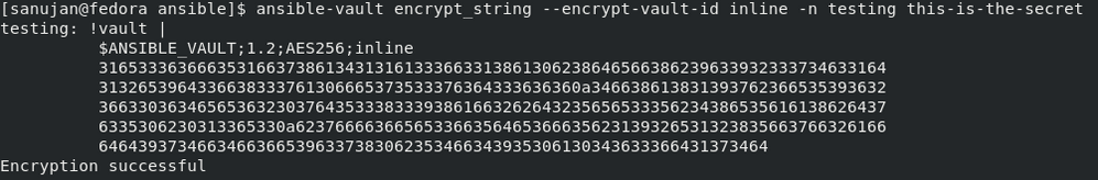 The results of running ansible-vault encrypt_string --encrypt-vault-id inline -n testing this-is-the-secret