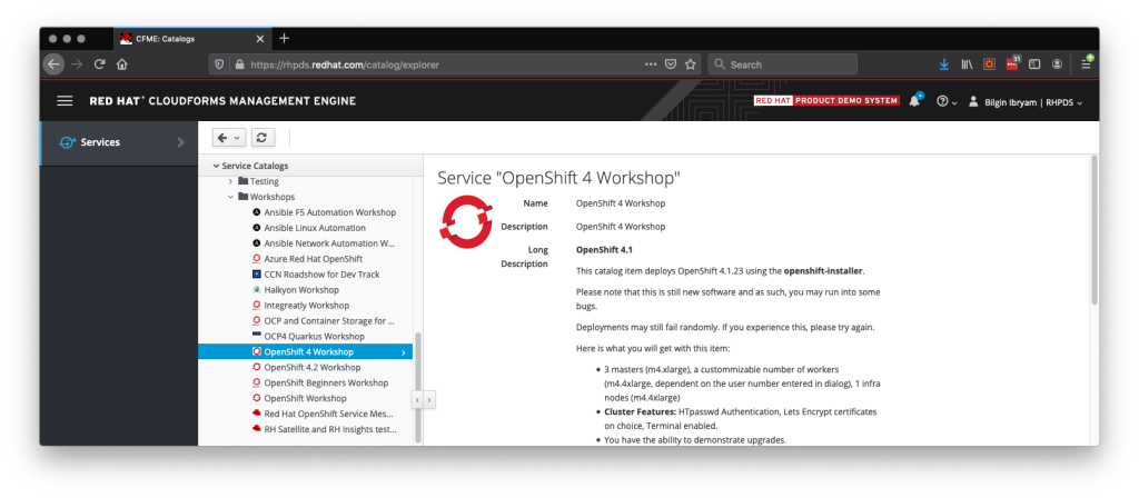 "The RHDPS Services screen with ""OpenShift 4 Workshop"" selected."