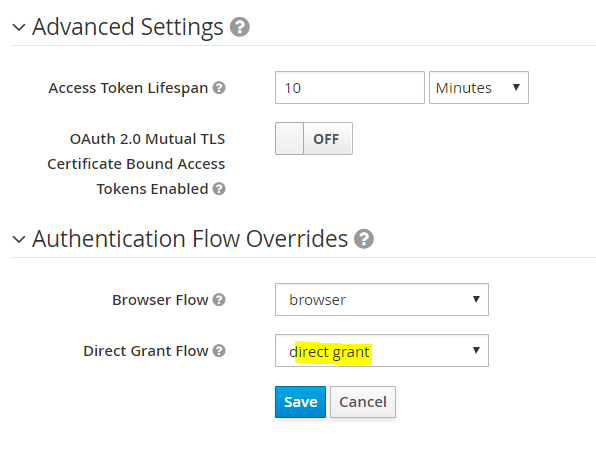 The Keycloak client Advanced Settings and Authentication Flow Overrides dialog box.