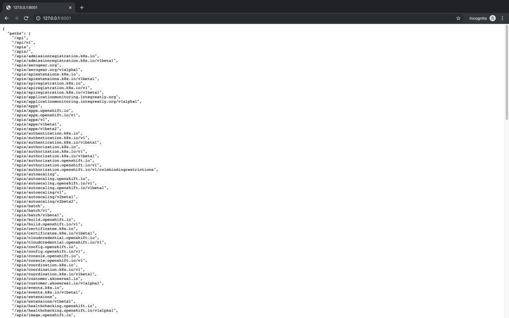 Kubernetes API endpoints.