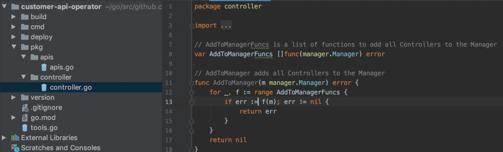 Basic boilerplate code for our new API Operator.