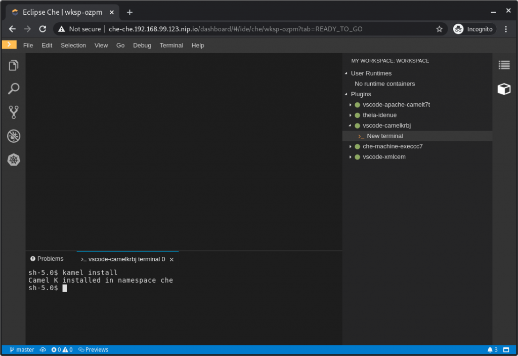 Eclipse Che showing your newly created terminal.