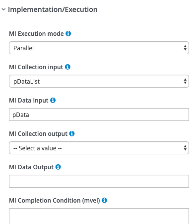 The jBPM Implementation/Execution section set up for the example.