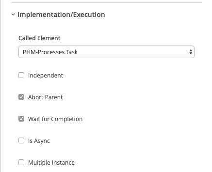 The jBPM Implementation/Execution section's called element setup.